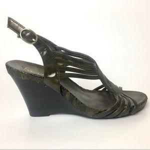 Sam & Libby Snake Wedge Sandal 8 1/2